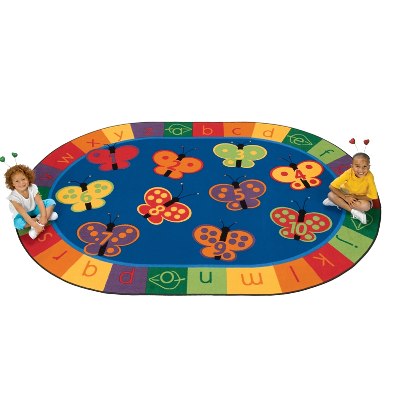 123 ABC Butterfly Fun Oval Rug, Carpets For Kids, Free