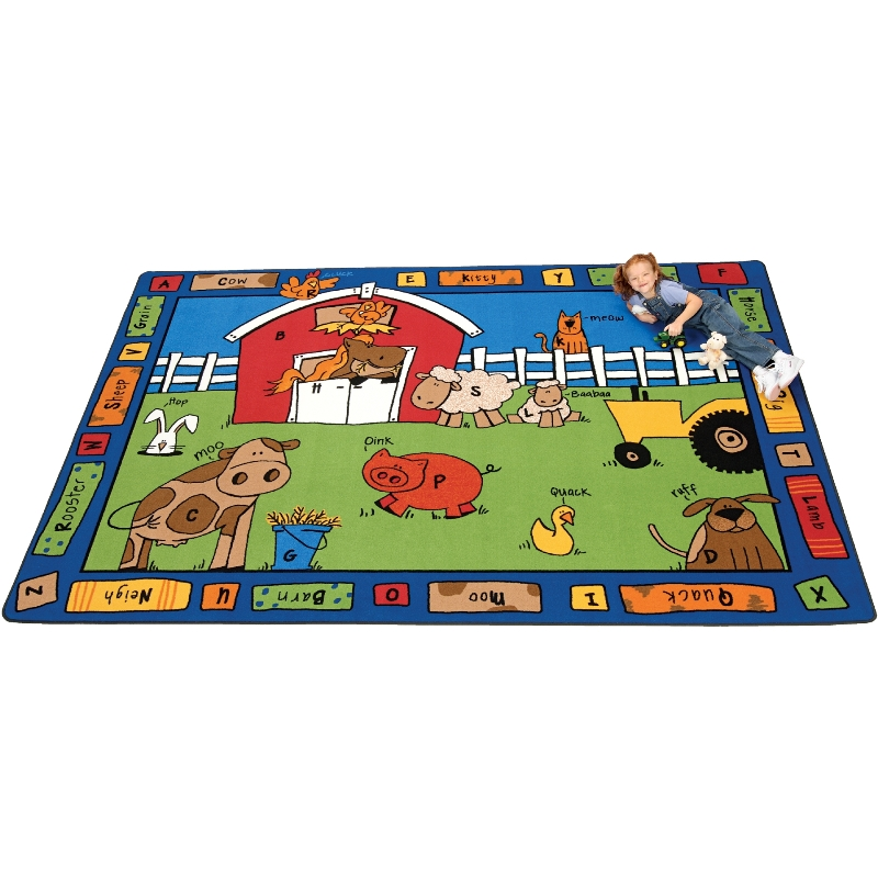 Alphabet Farm Rectangle Rug, Carpets For Kids, FREE SHIPPING