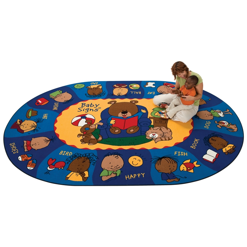 Carpets For Classrooms For Toddlers: Sign, Say & Play Oval Rug, Carpets For Kids, Free Shipping