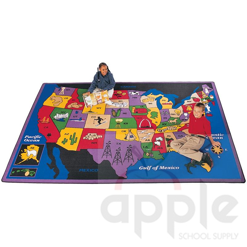 Discover America Rectangle Rug Carpets For Kids Free