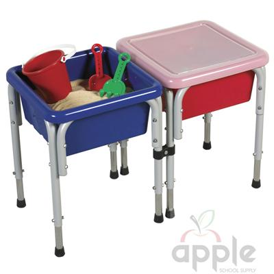ECR4Kids 2 Station Square Sand and Water Table with Lids  ELR-12401