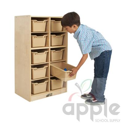 ECR4Kids Birch 10 Cubby Tray Cabinet with Sand Bins ELR-17215-SD
