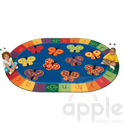 123 ABC Butterfly Fun Oval Rug - by Carpets for Kids