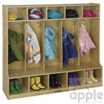 ECR4Kids Coat Locker - 5 Sections with Bench ELR-0453