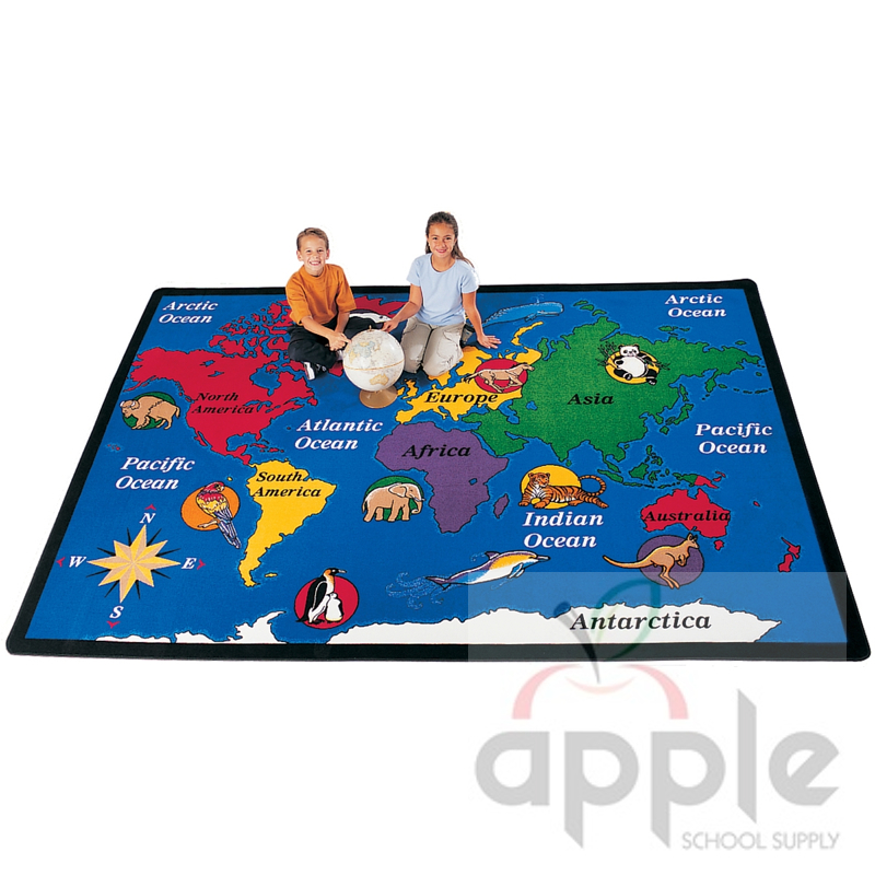 World Map Rectangle Rug Carpets For Kids Free Shipping