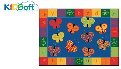 KIDSoft 123 ABC Butterfly Fun Rectangle Rug