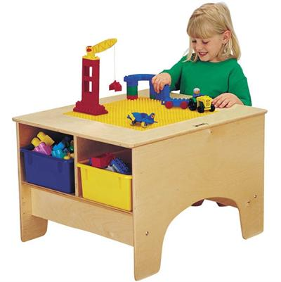 57459JC Duplo Building Table w/ 4 Colored Tubs - Jonti-Craft