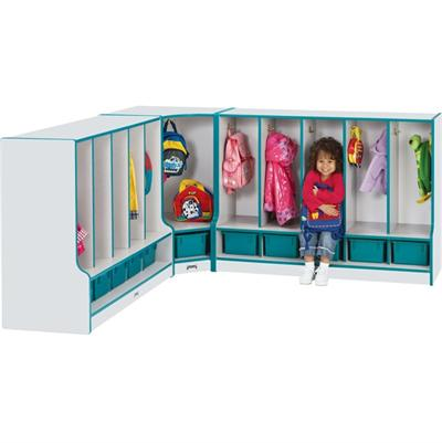 Toddler Corner Coat Locker w/Step - Rainbow Accents Jonti-Craft 6682JCWW005