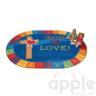 God is Love Learning Oval Rug - Carpets For Kids - Free Shipping