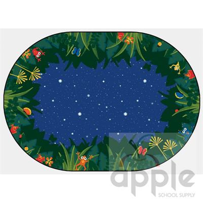 Peaceful Tropical Night Oval Rug - Carpets for Kids