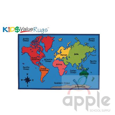 World Map Rectangle Rug - Carpets for Kids - Free Shipping