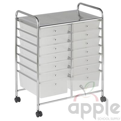 ECR4Kids 14 Drawer Mobile Organizer ELR-20101-WH