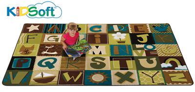 KIDSoft Toddler Alphabet Blocks - Nature Rectangle Rug