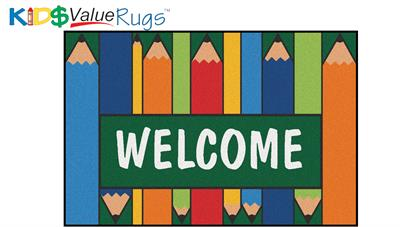 Colorful Pencils Welcome Rectangle Rug - Carpets for Kids
