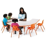 Jonti-Craft 6445JCT003 Rainbow Accents Kydz Activity Table- Horseshoe- 66 inch X 60 inch- 11 inch- 15 inch Ht