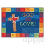 God is Love Learning Rectangle Rug - Carpets For Kids - Free Shipping